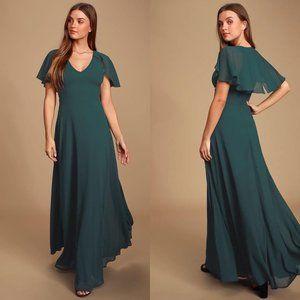 Lulus Kadence Emerald Green Chiffon Maxi Dress